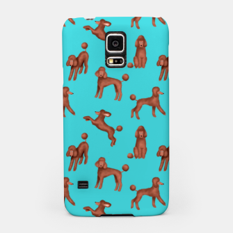 Miniaturka Chocolate Poodles Pattern (Turquoise Background) Samsung Case, Live Heroes