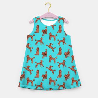 Thumbnail image of Chocolate Poodles Pattern (Turquoise Background) Girl's summer dress, Live Heroes