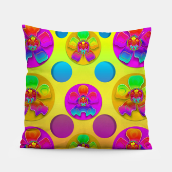 Thumbnail image of Power flowers in festive flower power festival pop art Pillow, Live Heroes