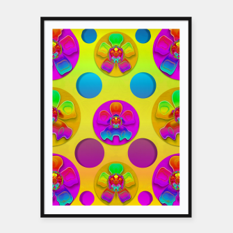 Thumbnail image of Power flowers in festive flower power festival pop art Framed poster, Live Heroes