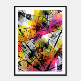 Thumbnail image of Discourse on Damage - Futuristic Geometric Abstrct Art Framed poster, Live Heroes