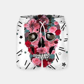 Thumbnail image of Made of skull with roses and spider pattern Swim Shorts, Live Heroes