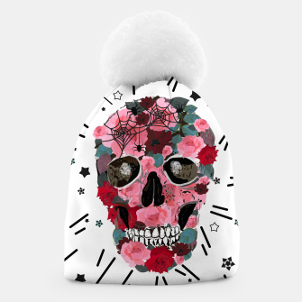 Thumbnail image of Made of skull with roses and spider pattern Beanie, Live Heroes