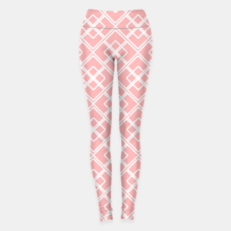 Miniatur Abstract geometric pattern - pink and white. Leggings, Live Heroes