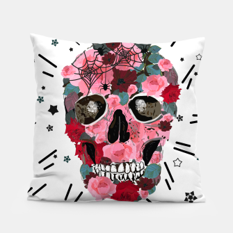 Thumbnail image of Made of skull with roses and spider pattern Pillow, Live Heroes