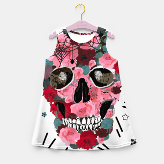Thumbnail image of Made of skull with roses and spider pattern Girl's summer dress, Live Heroes