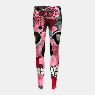 Thumbnail image of Made of skull with roses and spider pattern Girl's leggings, Live Heroes