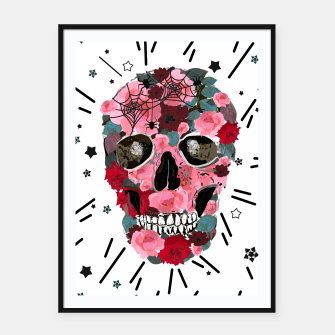 Thumbnail image of Made of skull with roses and spider pattern Framed poster, Live Heroes