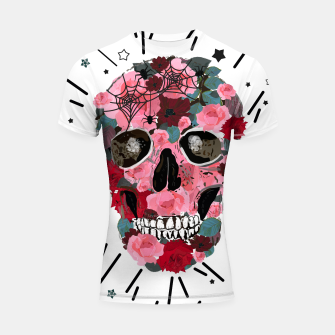 Thumbnail image of Made of skull with roses and spider pattern Shortsleeve rashguard, Live Heroes