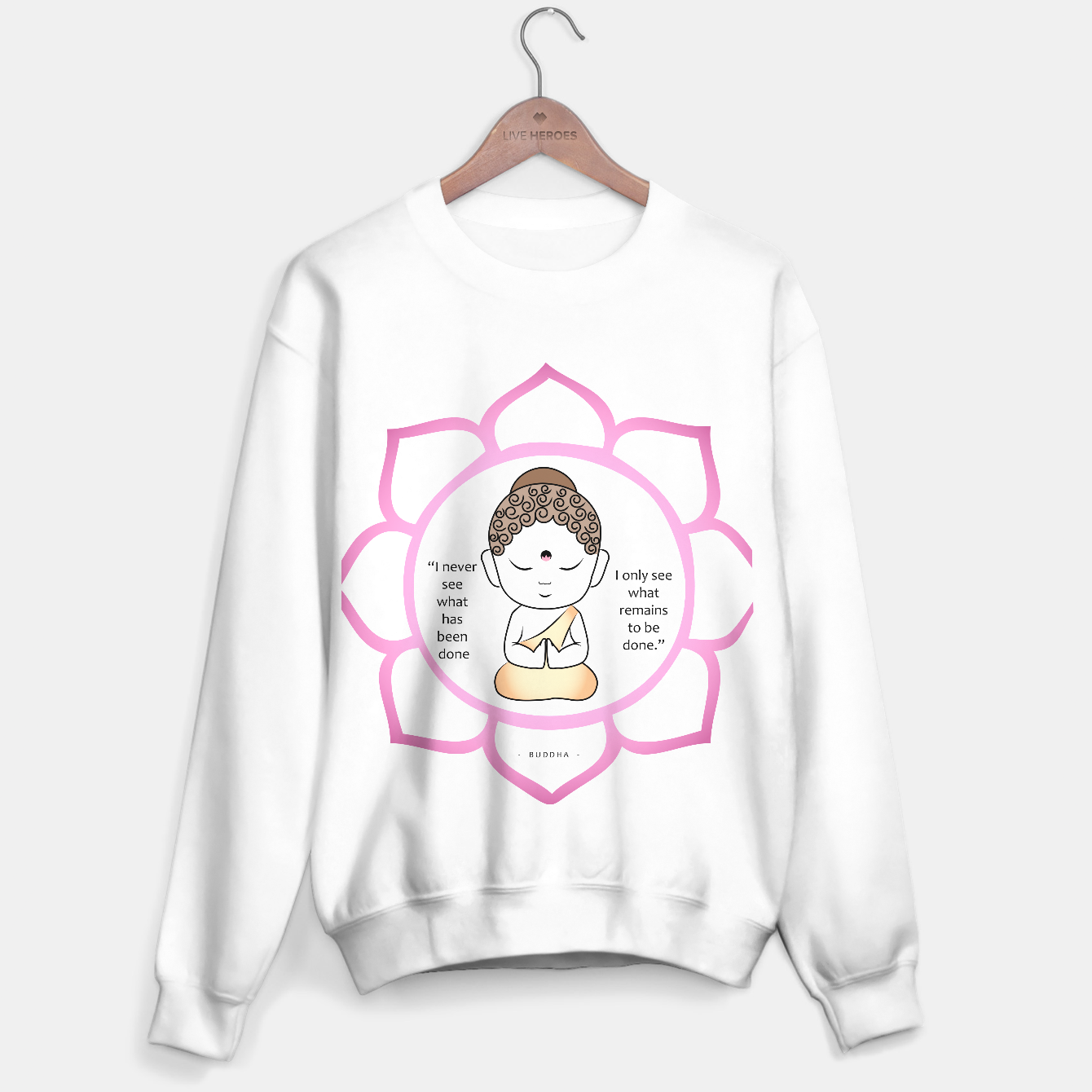 Image of Cute Buddha inside a sacred lotus with inspirational quote. The lotus is a symbol of fortune in Buddhism.