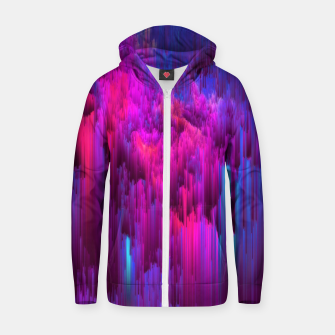 Thumbnail image of Outrun the Mist - Abstract Glitch Pixel Art Zip up hoodie, Live Heroes