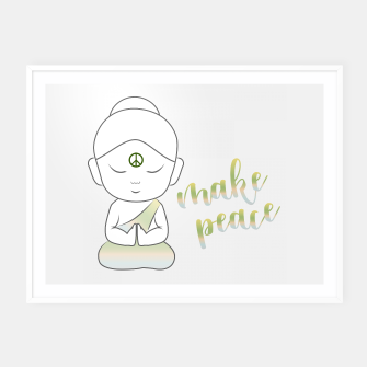 Miniatur Buddha with an inspirational message Framed poster, Live Heroes