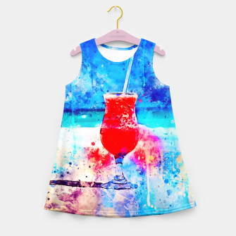 Thumbnail image of gxp sex on the beach cocktail cool summer splatter watercolor Girl's summer dress, Live Heroes