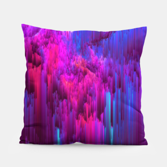 Thumbnail image of Outrun the Mist - Abstract Glitch Pixel Art Pillow, Live Heroes