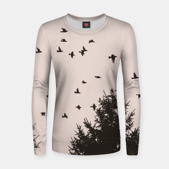 Miniatur Flying birds and pine trees Women sweater, Live Heroes