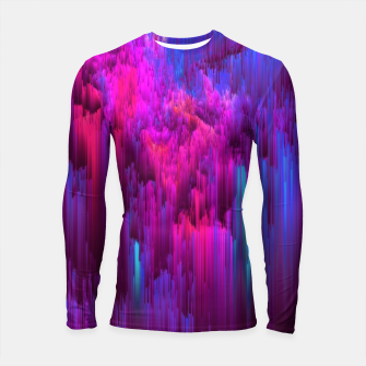 Thumbnail image of Outrun the Mist - Abstract Glitch Pixel Art Longsleeve rashguard , Live Heroes