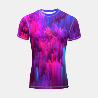 Thumbnail image of Outrun the Mist - Abstract Glitch Pixel Art Shortsleeve rashguard, Live Heroes