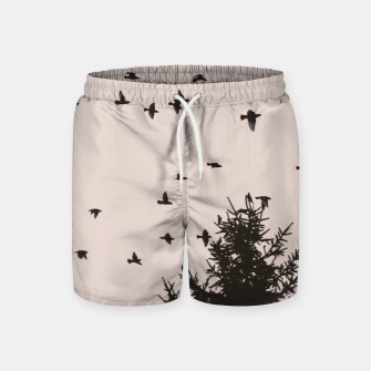 Miniatur Flying birds and pine trees Swim Shorts, Live Heroes