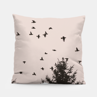 Miniatur Flying birds and pine trees Pillow, Live Heroes
