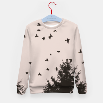 Miniatur Flying birds and pine trees Kid's sweater, Live Heroes