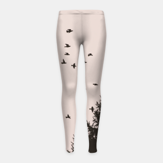 Miniatur Flying birds and pine trees Girl's leggings, Live Heroes