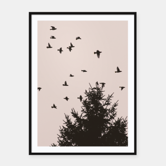 Miniatur Flying birds and pine trees Framed poster, Live Heroes