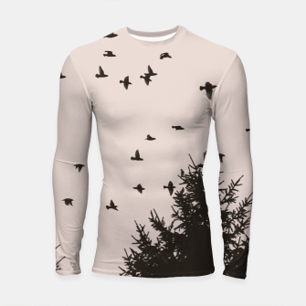 Miniatur Flying birds and pine trees Longsleeve rashguard , Live Heroes