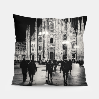 Thumbnail image of Black and White Duomo Piazza Night Scene, Milan City, Italy Pillow, Live Heroes