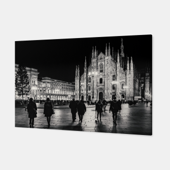 Thumbnail image of Black and White Duomo Piazza Night Scene, Milan City, Italy Canvas, Live Heroes