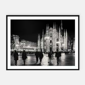 Thumbnail image of Black and White Duomo Piazza Night Scene, Milan City, Italy Framed poster, Live Heroes
