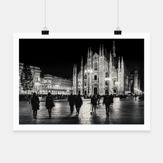 Thumbnail image of Black and White Duomo Piazza Night Scene, Milan City, Italy Poster, Live Heroes