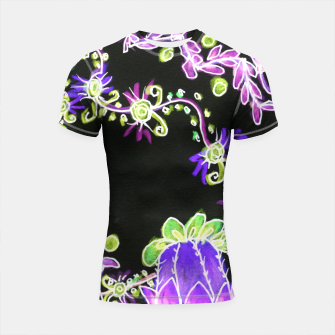 Thumbnail image of Psychedelic Irish Garden Queen's Crown Night Shortsleeve rashguard, Live Heroes
