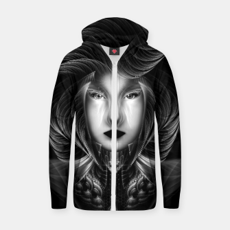 Thumbnail image of Trilia Red Nebula Portrait BLKGS Zip up hoodie, Live Heroes