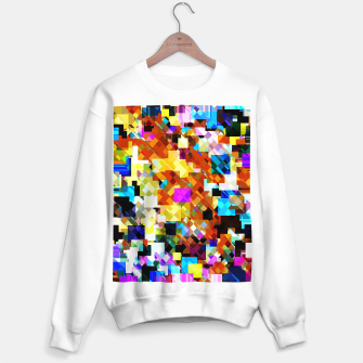Thumbnail image of geometric square pixel pattern abstract in brown pink yellow blue Sweater regular, Live Heroes