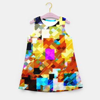 Thumbnail image of geometric square pixel pattern abstract in brown pink yellow blue Girl's summer dress, Live Heroes