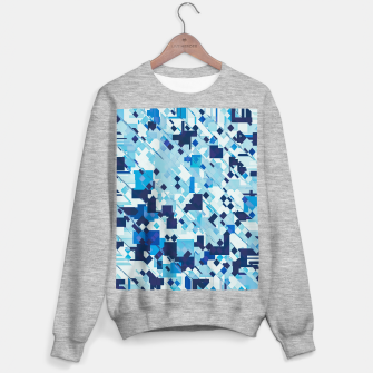Thumbnail image of geometric square pixel pattern abstract background in blue and black Sweater regular, Live Heroes