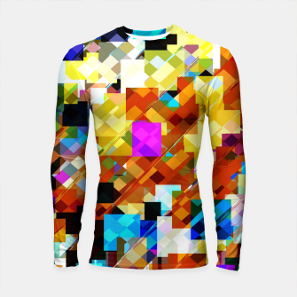 Miniatur geometric square pixel pattern abstract in brown pink yellow blue Longsleeve rashguard , Live Heroes