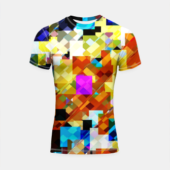 Miniatur geometric square pixel pattern abstract in brown pink yellow blue Shortsleeve rashguard, Live Heroes