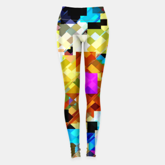 Miniatur geometric square pixel pattern abstract in brown pink yellow blue Leggings, Live Heroes