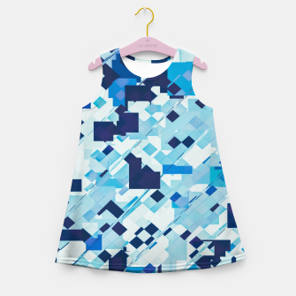 Thumbnail image of geometric square pixel pattern abstract background in blue and black Girl's summer dress, Live Heroes