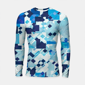 Miniatur geometric square pixel pattern abstract background in blue and black Longsleeve rashguard , Live Heroes