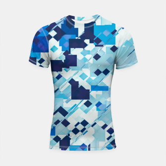 Miniatur geometric square pixel pattern abstract background in blue and black Shortsleeve rashguard, Live Heroes
