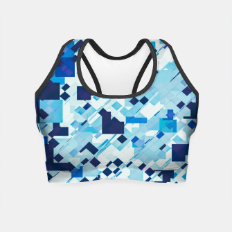 Miniatur geometric square pixel pattern abstract background in blue and black Crop Top, Live Heroes