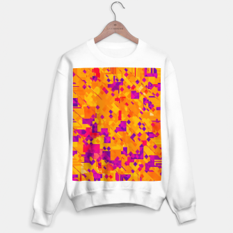 Thumbnail image of geometric square pixel pattern abstract background in orange purple blue Sweater regular, Live Heroes
