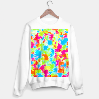 Thumbnail image of geometric pixel square pattern abstract in pink blue green orange Sweater regular, Live Heroes
