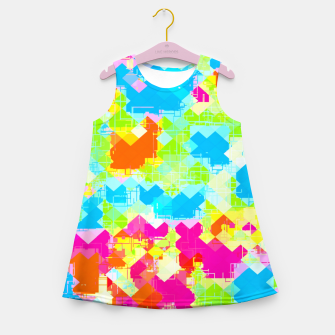 Thumbnail image of geometric pixel square pattern abstract in pink blue green orange Girl's summer dress, Live Heroes