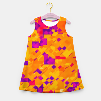 Thumbnail image of geometric square pixel pattern abstract background in orange purple blue Girl's summer dress, Live Heroes