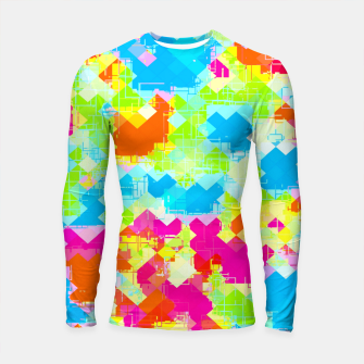 Miniatur geometric pixel square pattern abstract in pink blue green orange Longsleeve rashguard , Live Heroes