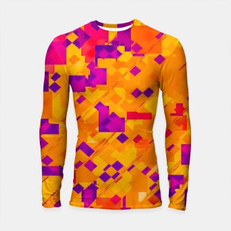 Miniatur geometric square pixel pattern abstract background in orange purple blue Longsleeve rashguard , Live Heroes