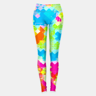 Miniatur geometric pixel square pattern abstract in pink blue green orange Leggings, Live Heroes